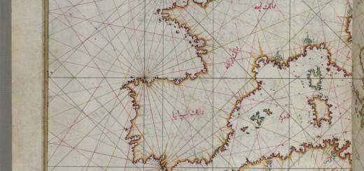 Map of Northern Africa and Western Europe, Piri Reis, Kitab-ı Bahriye, Public Domain